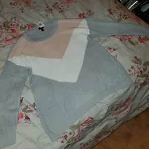 Pink and grey triangle sweater